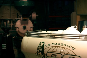 Special 80th anniversary edition La Marzocco FB80 at Alterra's Humboldt Ave HQ.
