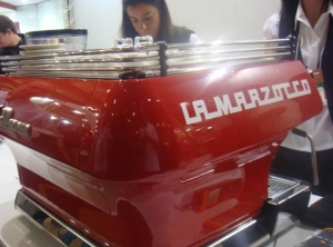 Custom colored La Marzocco FB80 in Ferrari red and classic LM logo.
