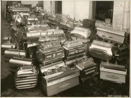 Flooded espresso machines during the 1966 Flood of River Arno