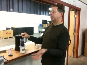 Kevin Knox demonstrating the Aerobie coffee press.