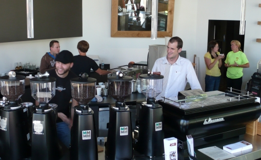 Robbie & Jacob at the new Zoka Kirkland. Special edition of La Marzocco FB/70 Paddle.