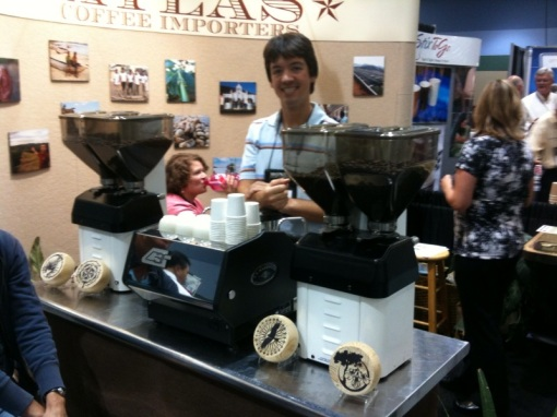 Chris Davidson from Atlas Coffee Importers double barreling with the two Swifts and the GS/3.