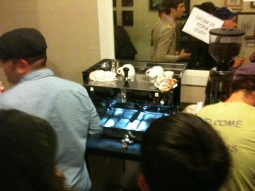 Baristas jamming on the Mechanical Paddle Linea at Victrola's Barista Jam.