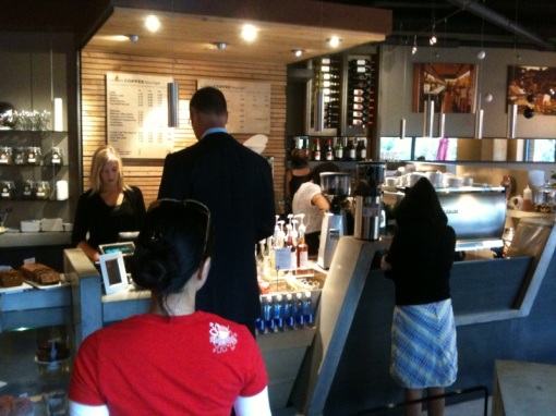 Busy morning at Urban Coffee Lounge. Burning through their Hairbender espresso from Stumptown.